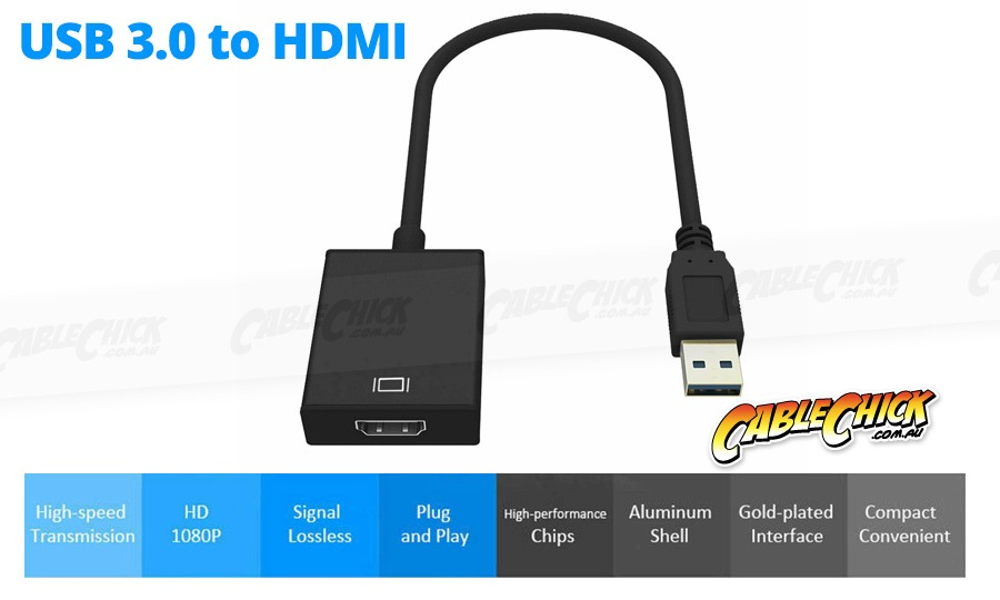 USB to HDMI @ 1080p Video Adapter (USB 3.0 - Mirror or Extend on PC) (Photo )