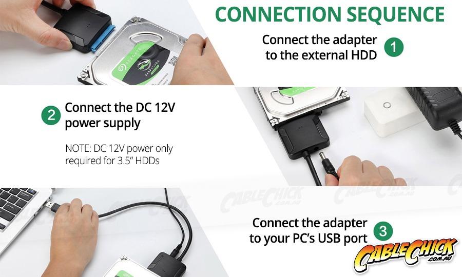 "USB 3.0 to SATA HDD Adapter Cable Kit (Supports SSD, 2.5"" & 3.5"" SATA Drives) (Photo )"