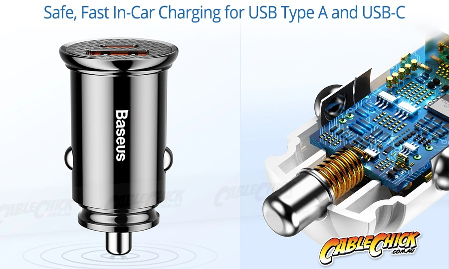 Dual-Port 30W USB Car Charger with QC4, 5A Fast Charging & USB-C (Photo )