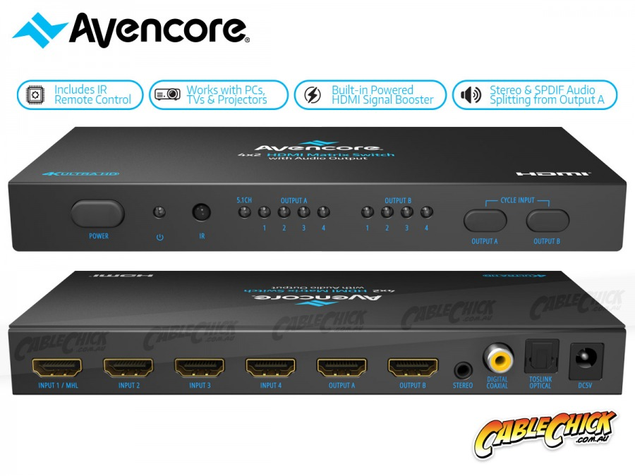 Avencore Halon Series HDMI 4x2 True Matrix Switch & Audio Splitter (Supports Ultra HD 4K@30Hz) (Photo )