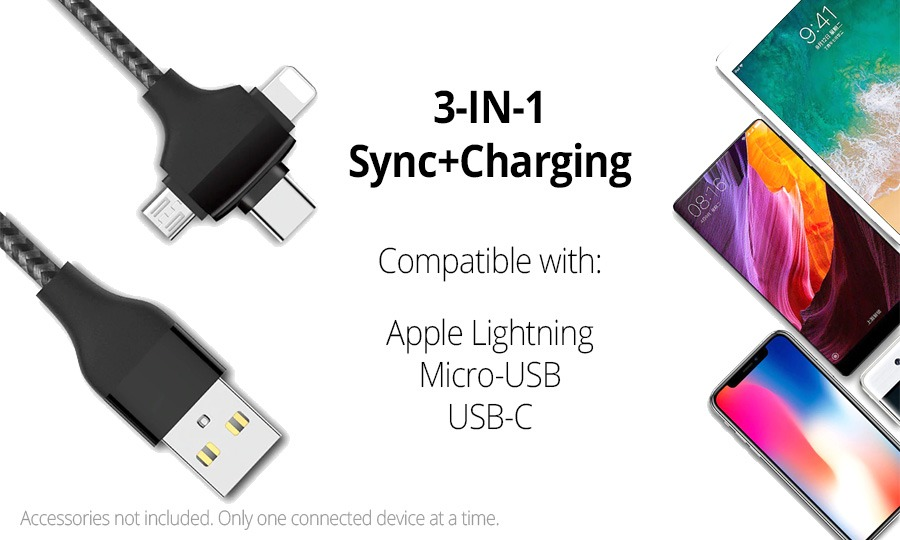 3-in-1 USB Charging Cable Adapter (Supports Lightning, Micro-USB & USB-C) (Photo )