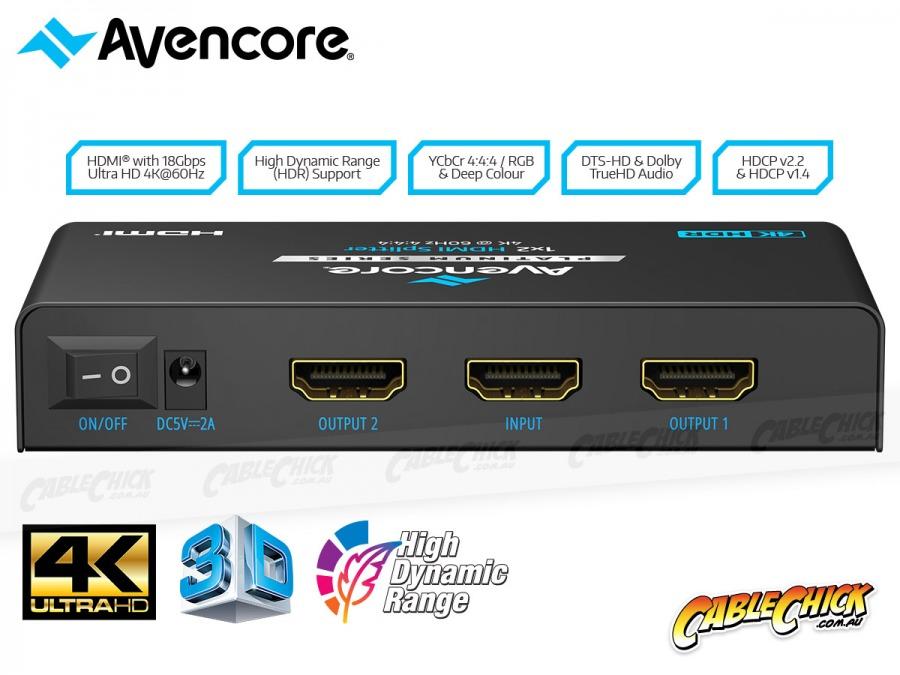 Avencore Platinum 2-Way Ultra HD 4K/60Hz HDMI Splitter (1x2 HDMI 2.0 Splitter) (Photo )