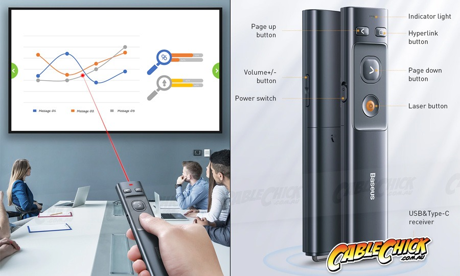 2.4GHz Wireless PowerPoint Presenter & Laser Pointer (USB A+C for PC & Mac) (Photo )