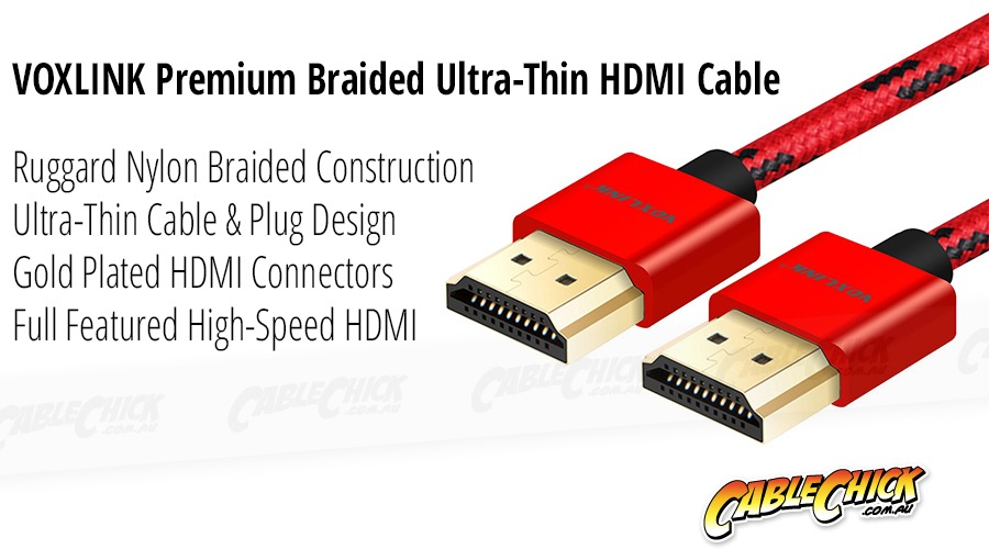 1m Voxlink Braided Ultra-Thin HDMI Cable (High-Speed HDMI v2.0a with Ethernet) (Photo )