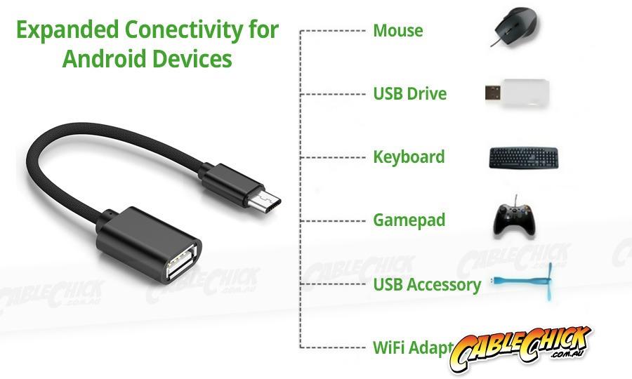 Premium Aluminium 10cm Micro-USB OTG Cable (USB 2.0 On-The-Go Cable) (Photo )