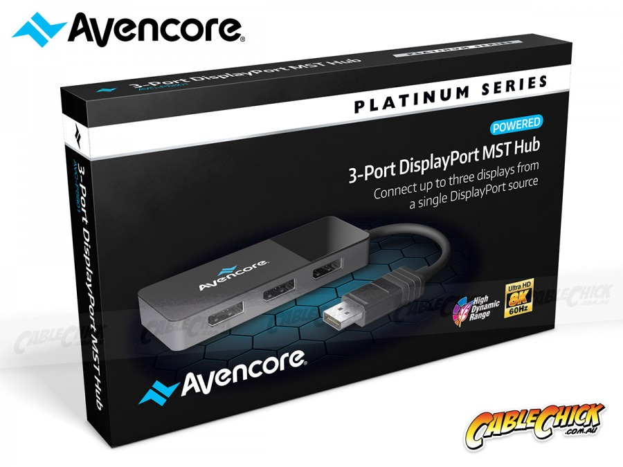 Avencore 8K DisplayPort 3-Way Splitter Hub - MST Hub (Extend & Mirror) (Photo )