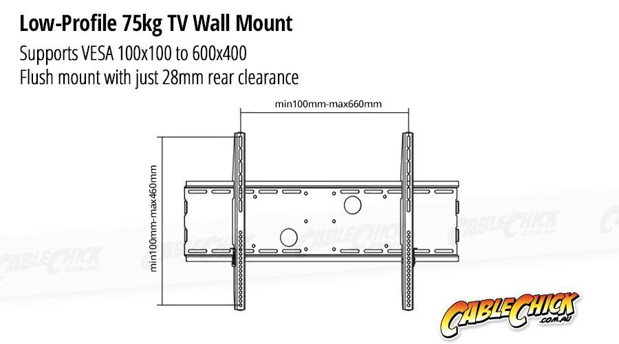 Premium Low-Profile TV Wall Mount Bracket - 75kg (Black) (Photo )