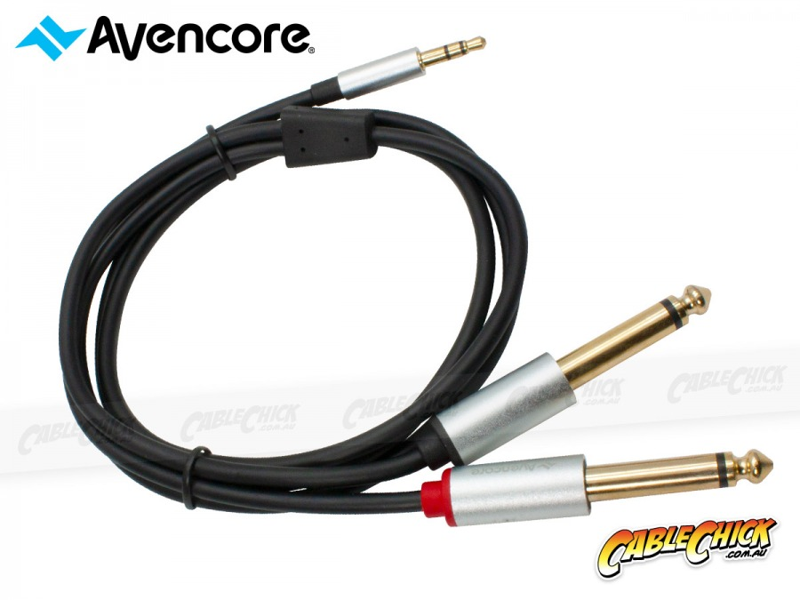 1m Avencore Crystal Series 3.5mm Stereo to 6.5mm Dual Mono Audio Cable (Photo )
