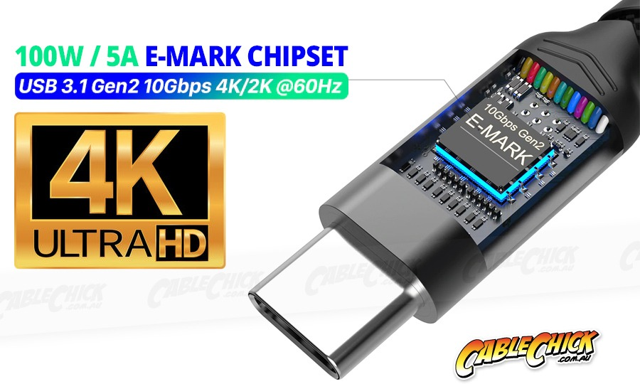 1m Premium Aluminium USB-C Fast-Charging Cable (USB 3.1 Gen2 - 10Gbps, 100W/5A, 4K/60Hz) (Photo )