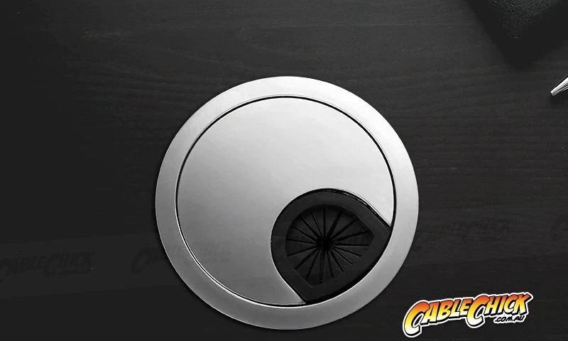 Premium Brushed Steel Finish Desk Grommet (60mm Zinc-Alloy) (Photo )