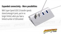 Super-Speed 4-Port USB 3.0 Hub with Aluminium Finish (Thumbnail )