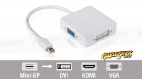 3-in-1 Mini-DisplayPort to VGA / DVI / HDMI Cable Adaptor - Thunderbolt Socket Compatible (Thumbnail )