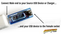 Advanced USB Output Meter (Displays Voltage, Amps & mAH) (Thumbnail )