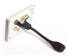 Amped Classic HDMI, TOSLINK, VGA & F-Type Antenna (White Wall Plate) (Thumbnail )