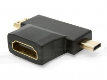 HDMI to Mini-HDMI Male & Micro-HDMI T-Shaped Adapter (Thumbnail )