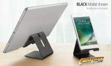 Universal Aluminium Phone Stand - Black (for Phones & Small Tablets) (Thumbnail )