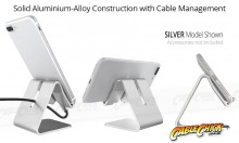 Universal Aluminium Phone Stand - Silver (for Phones & Small Tablets) (Thumbnail )