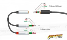 4-Pole TRRS to 3.5mm Stereo & Mic Splitter Cable (Female to 2x Male) (Thumbnail )