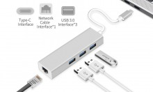 USB 3.1 Type-C 3-Port Hub + Gigabit Ethernet Network Adapter (Thumbnail )