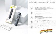 2.4GHz Wireless PowerPoint Presenter & Laser Pointer (USB A+C for PC & Mac) (Thumbnail )