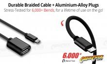 Premium Aluminium 10cm Micro-USB OTG Cable (USB 2.0 On-The-Go Cable) (Thumbnail )