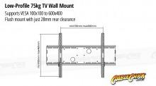 Premium Low-Profile TV Wall Mount Bracket - 75kg (Black) (Thumbnail )