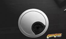 Premium Brushed Steel Finish Desk Grommet (60mm Zinc-Alloy) (Thumbnail )