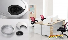 Premium Brushed Steel Finish Desk Grommet (50mm Zinc-Alloy) (Thumbnail )
