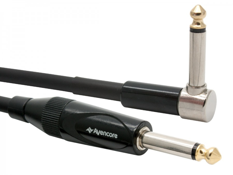 "10m Avencore Platinum 1/4"" Guitar Cable with Right Angled Connector (Photo )"