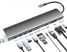 11-in-1 USB-C Docking Station with Power Delivery, HDMI & VGA Output (PC or Mac)