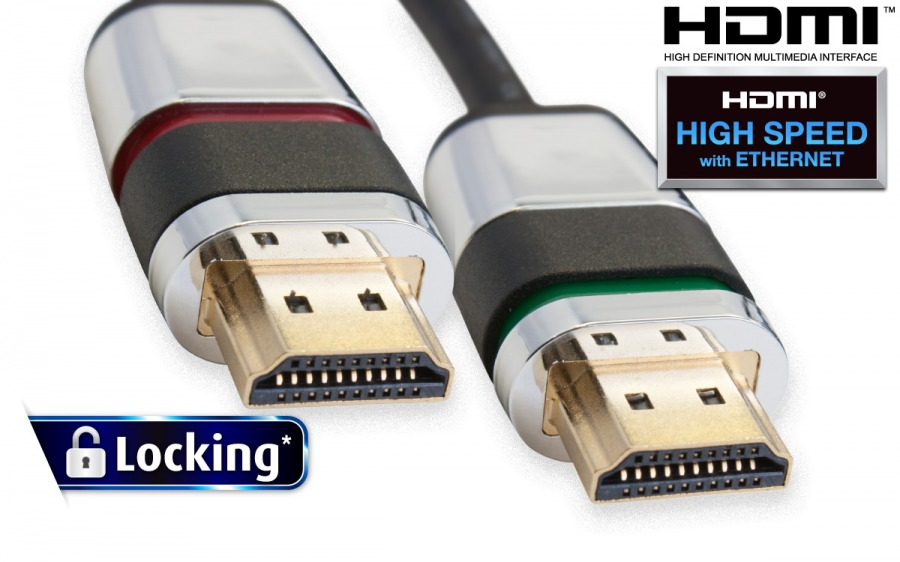 1m Locking HDMI Cable (HDMI v1.4 - High Speed with Ethernet)