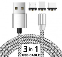 1m Magnetic 3-in-1 USB Charging Cable (USB-C, Lightning & Micro) (Thumbnail )