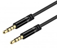 1m Slim 3.5mm 4-Pole TRRS Cable (Black)