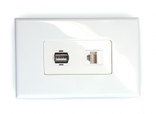 1x Cat6 & 1x USB 2.0 Wall Plate