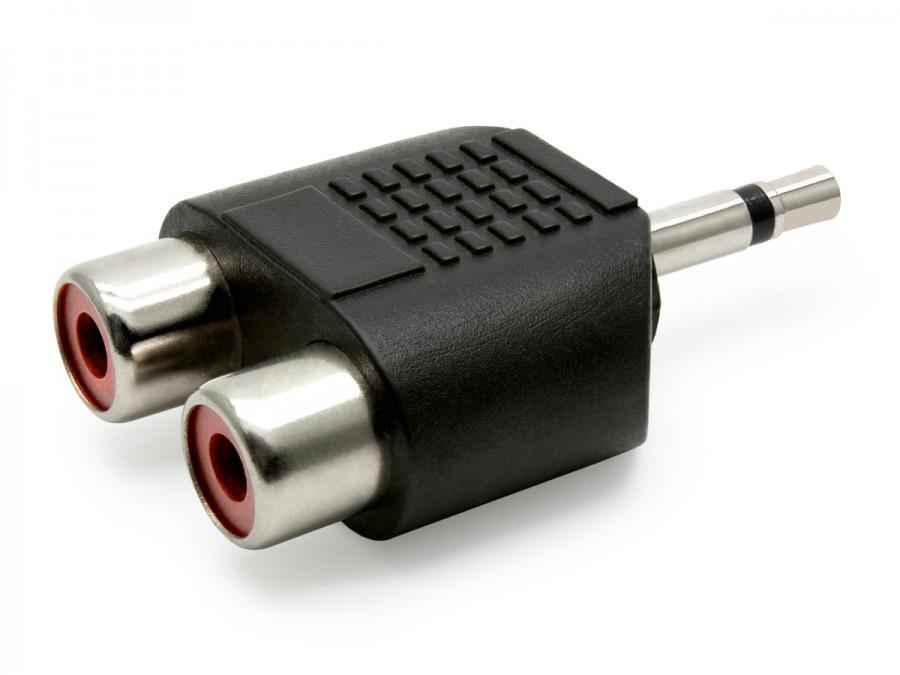 2 RCA Female to 3.5mm Mono Mini Jack Adaptor