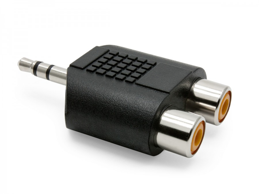 2 RCA Female to 3.5mm Stereo Mini Jack Adaptor