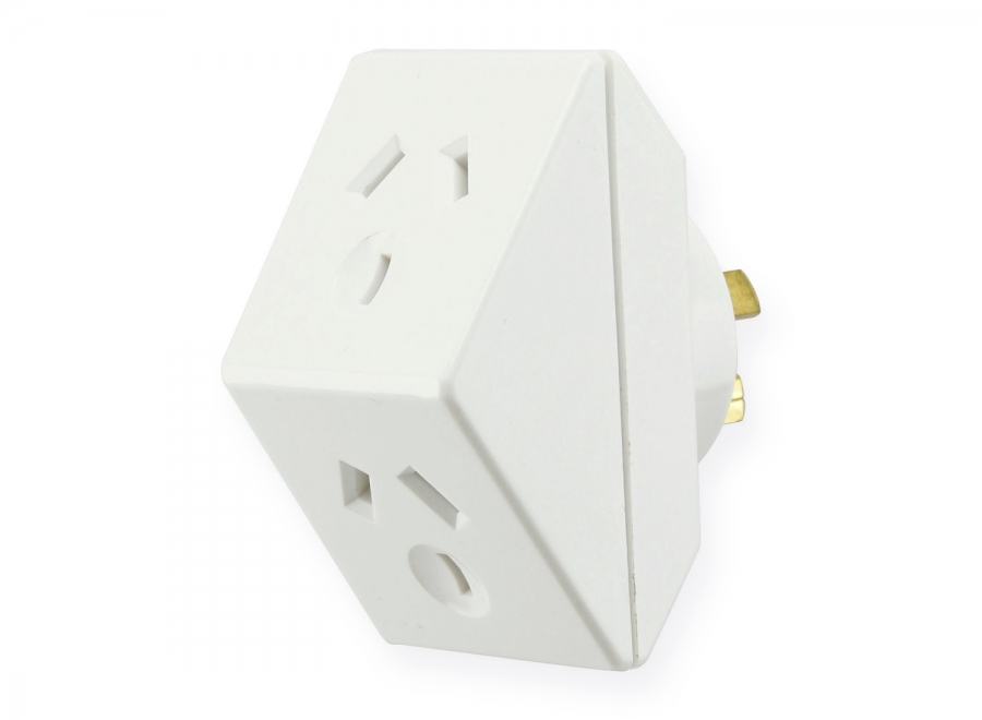 Australian Power Socket Triangle Double Adapter