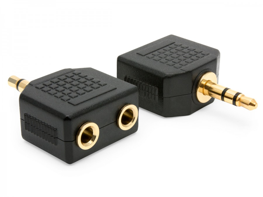 2 x 3.5mm Stereo Sockets (Female) to 3.5mm Stereo Mini Jack (Male) Adaptor