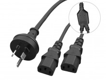 2m IEC Y-Splitter Power Cable (2x IEC-C13 Female to AU Mains Plug)