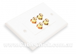 2x 2 RCA (Left & Right Audio) Home Theatre Wall Plate
