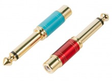 "2x Premium RCA Socket to 6.5mm Mono Adaptors (Set of 2 RCA to 1/4"" Adapters) (Thumbnail )"