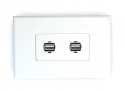 2x USB 2.0 Wall Plate (Type A Female)