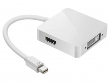 3-in-1 Mini-DisplayPort to HDMI / DVI / DisplayPort Cable Adaptor - Thunderbolt Socket Compatible (Thumbnail )