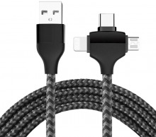 3-in-1 USB Charging Cable Adapter (Supports Lightning, Micro-USB & USB-C)