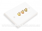 3 RCA (Composite Video + L & R Audio) Home Theatre Wall Plate (Thumbnail )