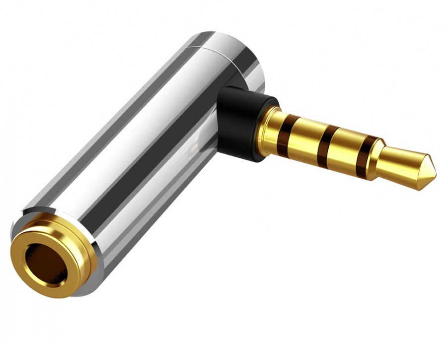 3.5mm 4-Pole TRRS Right-Angle Adapter (Male to Female) (Photo )