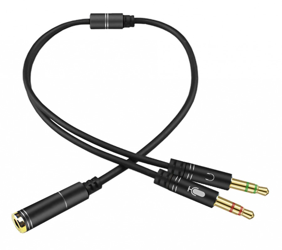 4-Pole TRRS to 3.5mm Stereo & Mic Splitter Cable (Female to 2x Male) (Photo )