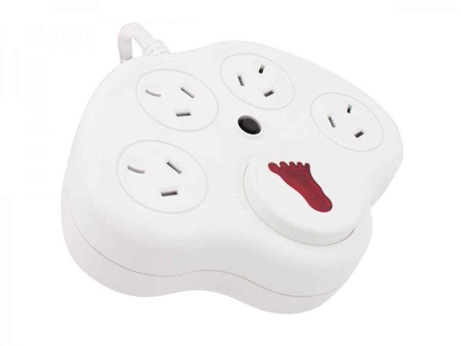 4 Socket Powerboard with Surge Protection and Foot Switch (Photo )