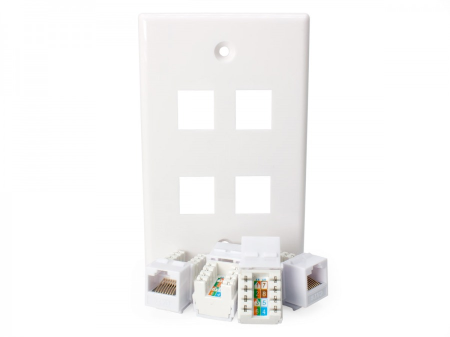 4x CAT6 Wall Plate (RJ45 Keystone Punchdown) (Photo )
