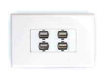 4x USB 2.0 Wall Plate (Type A Female)